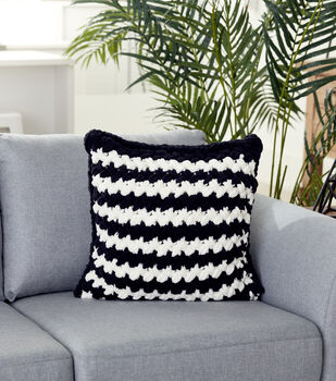 How To Make A Bernat Alize Blanket EZ Two Color Criss-Cross Pillow