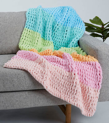How To Make a Big Twist Loopity Loops Six Color Baby Blanket