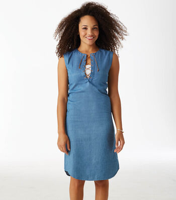 How To Make A Denim Lace Up Dress With Trim