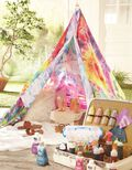 Tie Dye Pennants and Tent