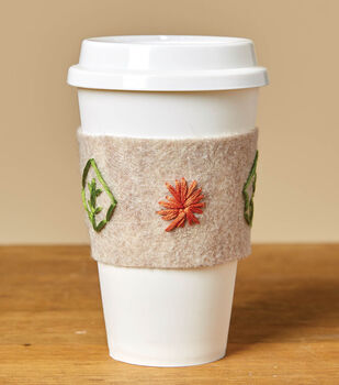 How To Make a Felt Embroidered Coffee Sleeve