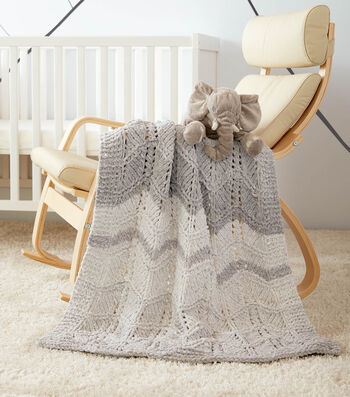 How To Make a Bernat Dappled Lacy Chevrons Knit Baby Blanket