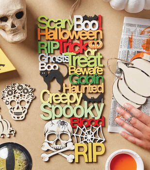 How To Make A Laser Cut Wood Plaque with Halloween Words
