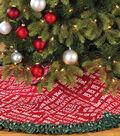 Burlap Tree Skirt with Fabric Ruffle