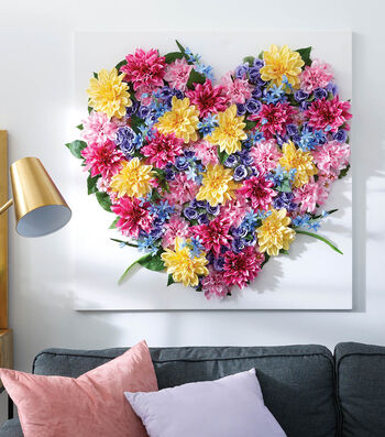 How To Make a Floral Heart Canvas