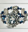 Blue Iris and Sliver Slider Bracelet