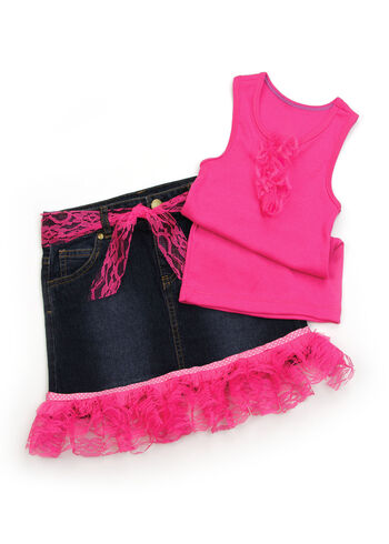 Lacey Girl's Pink Tank and Skirt
