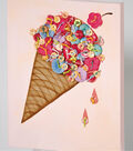Canvas with Button-Embellished Ice Cream Cone