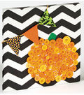 Painted Canvas with Button Pumpkin