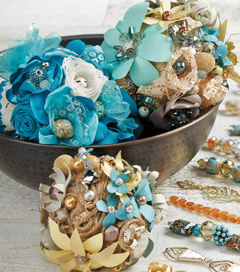 Fabric Flower Beaded Balls
