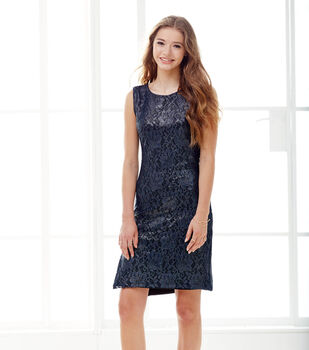 Black Foiled Lace Dress