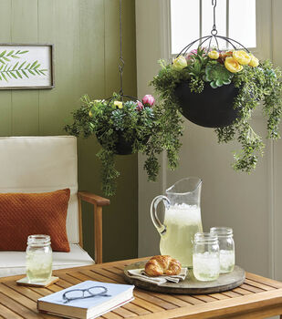 How To Make Spring Floral Hanging Planters
