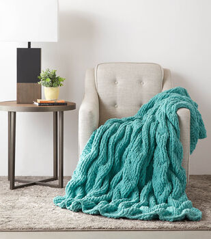 How To Make a  Bernat Blanket extra Shadow Tick Stitch Cable Knit Blanket