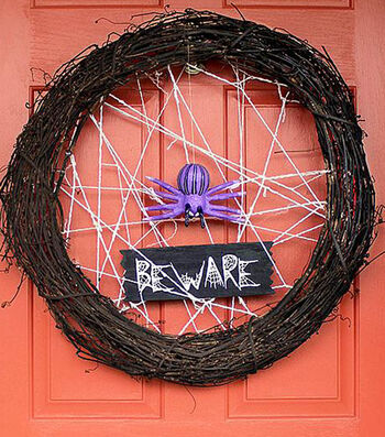 Painted Halloween Spider Wreath
