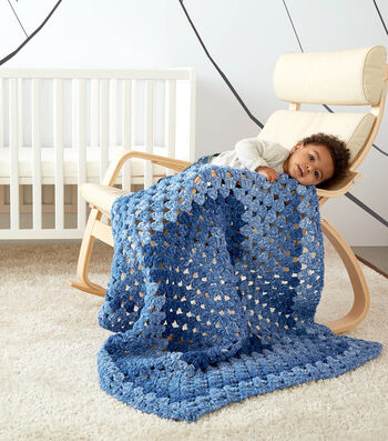 How To Make a Bernat Dappled Granny Rectangle Crochet Baby Blanket