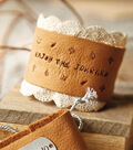 Hand Stamped Leather Cuff with Lace Trim