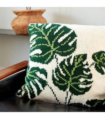 How To Make A  Bernat Tropical Leaf Knit Pillow