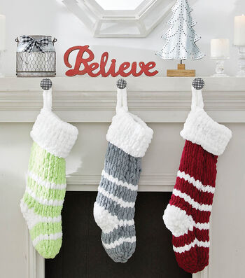 How To Make A Striped Knit Loopy Yarn Stocking