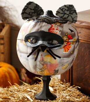 Vintage Pumpkin with Cat Mask