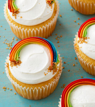 How To Make A Golden Rainbow Cupcakes