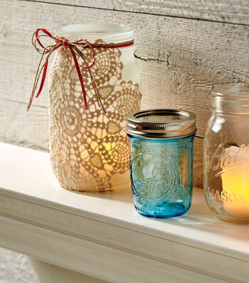 How To Make A Frosted Ball Jar with Doily