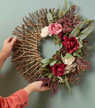 How To Make a DIY Fall Floral Painted Stick Wreath