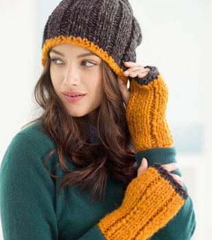 How To Make A Wool-Ease Thick & Quick Color Tipped Mitts And Slouch Hat