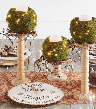 Floral Moss Bowl Candles on Candle Holders