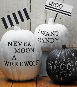 Black & White Painted Pumpkins with Signs