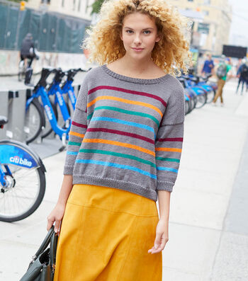 How To Make A Lion Brand Touch of Merino Doreen Striped Pullover
