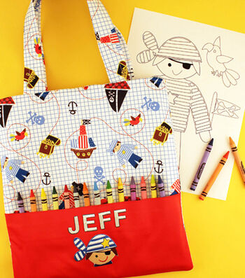 Pirate Tote Bag with Crayon Loops