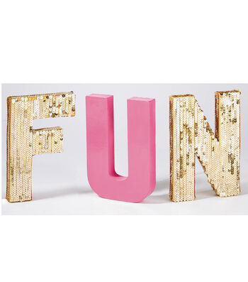 "Painted and Sequined ""FUN"" Letters"