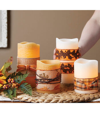 How To Make Fall Ribbon Wrapped Candles