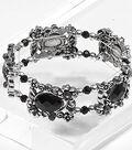 Black Flower and Faceted Beads Bracelet