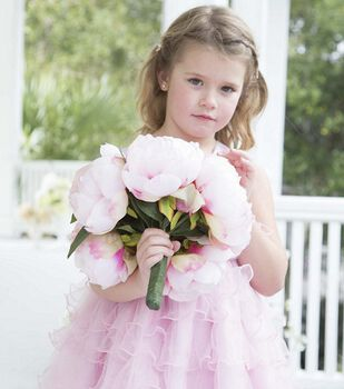Pink Peony Bouquet and Flower Girl Dress