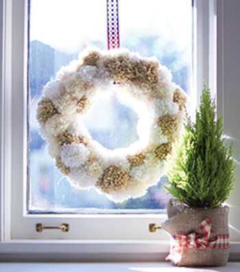 How To Make a Bernat Pom Pom Wreath