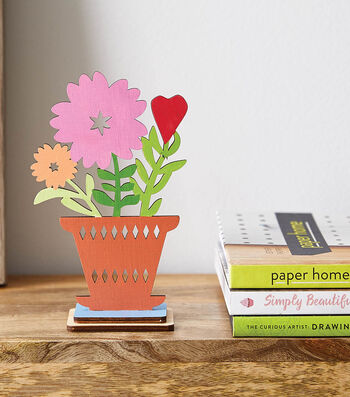 How to Make A Wooden Laser Cut Wreath and Pot of Flowers