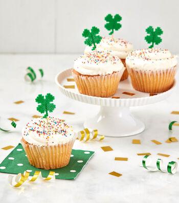 How To Make Perler Mini Bead Shamrock Cupcake Toppers