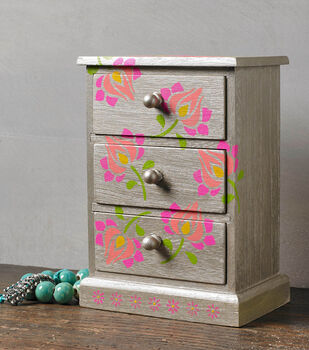 How To Make A Stenciled Folk Lore Jewelry Box