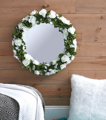 How To Make a Spring Floral Upcycled Mirror Wreath
