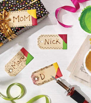 How To Make Paint Dipped Wood Burned Gift Tags