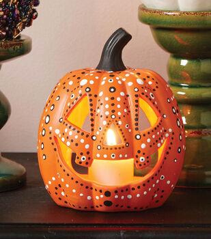 Learn How To Dot Paint A Pumpkin Lantern
