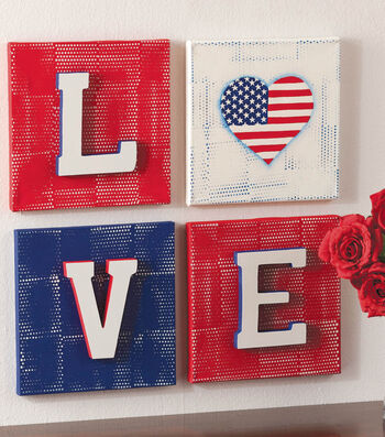 Red,White and Blue LOVE Canvases
