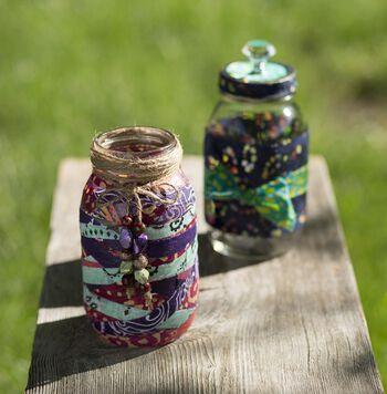 Bandana Decoupaged Jar
