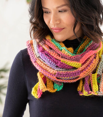 How To Make A Lion Brand Landscapes Shawl of Many Colors