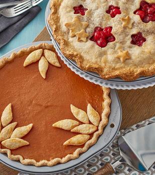 How to Bake Pumpkin Pie with Leaf Cut-Outs and Cherry Pie