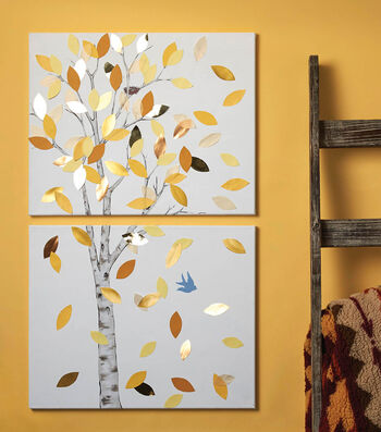 How To Make A Painted Canvases with Tree and Leaves