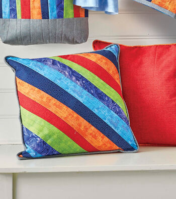 """How To Make A 18"""" Quilted Pillow with Uneven Diagonal Stripes"""
