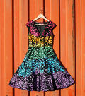 Dyed Rainbow Polka Dot Dress