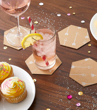 How To Make a Foil Quill Hexagon Coasters